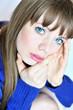 thoughtful blue-eyed girl