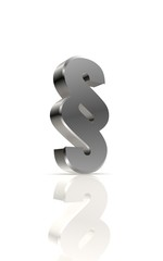 Impressum - paragraph sign in metal, a 3d image