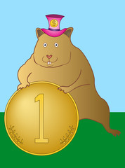 Hamster with a coin