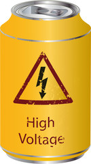 Yellow tin with a high voltage drink