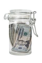 Bocal en verre avec des devises - Dollars