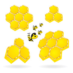3d honeycomb with cartooney  honeybees