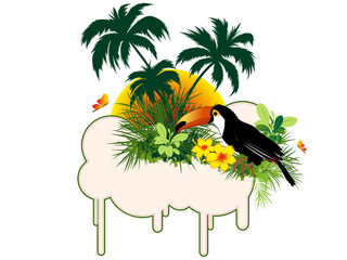 summer banner with tropical bird and palms