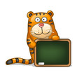 Fun tiger with blackboard