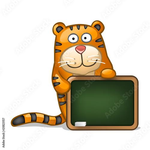 Fun tiger with blackboard