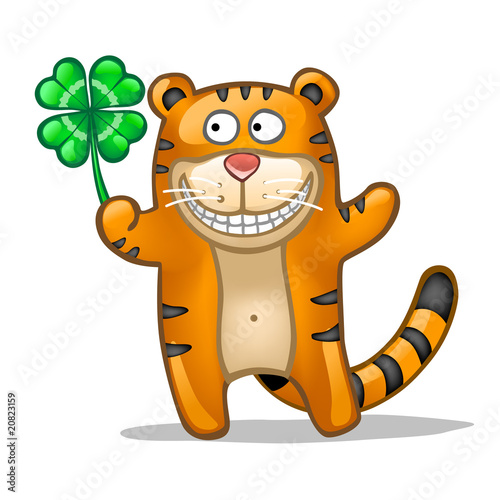 Fun tiger with lucky four leaf clover
