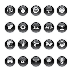 Gel icons in Black - Ecology Buttons.