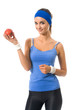 Portrait of woman in sportswear with apple, isolated on white