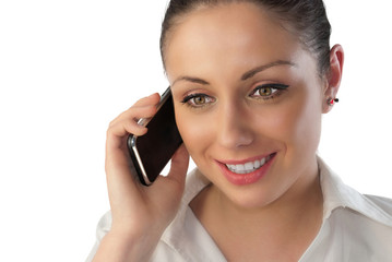 Attractive young woman talking over touch phone