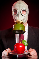 person in a gas mask