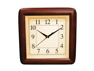 One brown wood clocks isolated on white