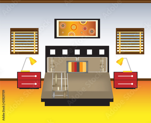 Contemporary Bedroom in Red, Orange, Yellow and Brown