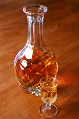 Whisket, scotch or bourbon in a crystal decanter
