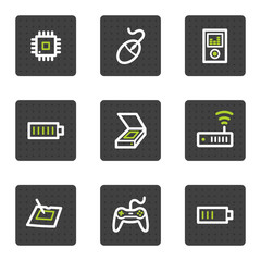 Electronics web icons set 2, grey square buttons series