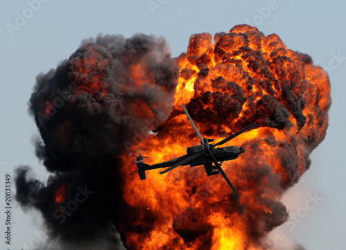 Helicopter and giant explosion - 20833349
