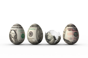 easter eggs with dollar banknotes prints on shell