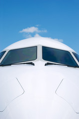 Front detail of white airplane