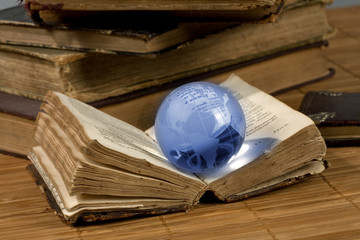 glass  globe and the old book