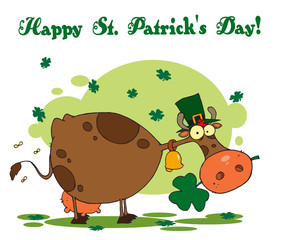 Happy St Patrick's Day Greeting Of A Leprechaun Cow