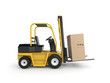 Forklift with cardboard box