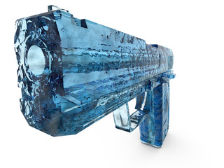 Rendered image of blue icy transparent hand gun.