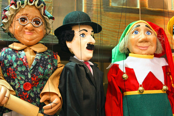 Traditional puppets - three figures