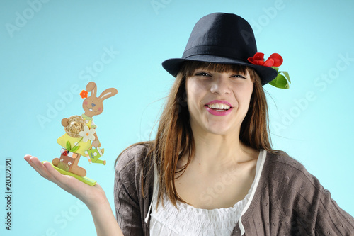 one girl showing bunny for easter gifts