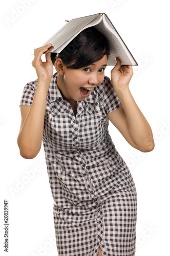Woman Put Book on Head