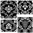 damask seamless patterns set