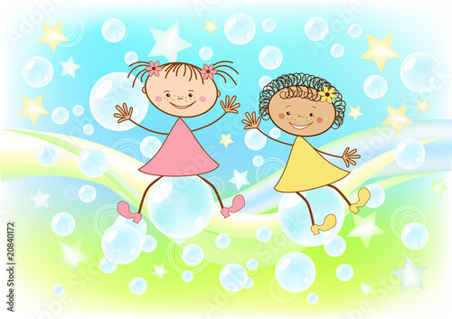 Children fly on soap bubbles.