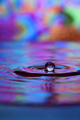 Colorful red, yellow, pink and blue water drop and splash