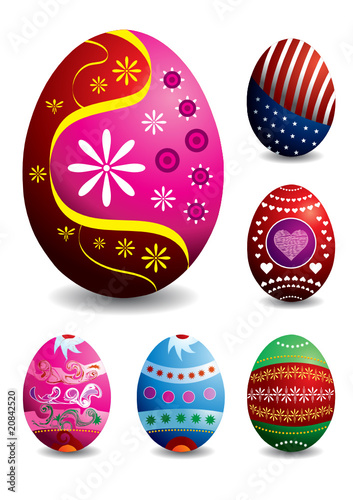 set of 9 beautiful easter eggs illustration
