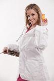 Attractive twenties blond caucasian health care worker poster