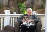 Happy Elderly Man with Dog