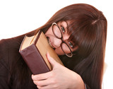 Clever girl in spectacles with group book. Isolated. poster