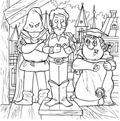 Soldier, judge and hangman (fairy-tale Flint)