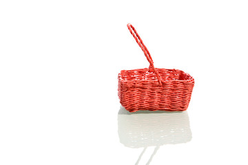 Easter Red Basket on Isolated White Background