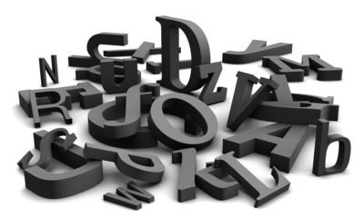 3D alphabet with black letters