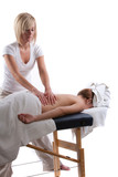 Massage therapist giving back massage poster
