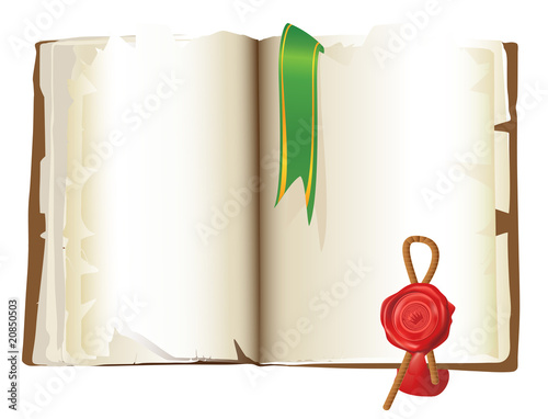 Open vintage Book with bookmark and stamp isolated over white