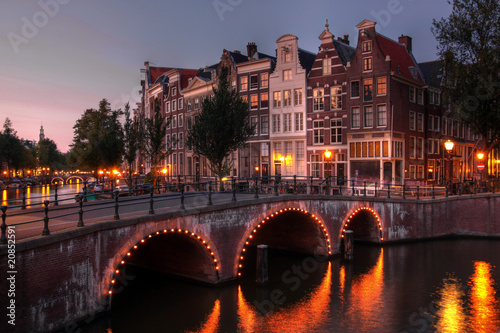 Poster Amsterdam canal at twilight, Netherlands