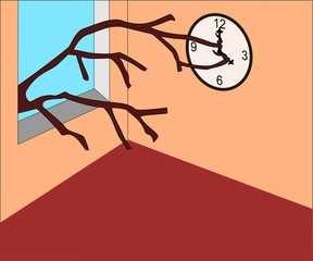rami che fermano un'orologio