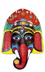 Wooden mask of Hindu God Ganesha
