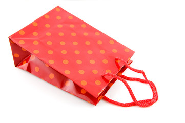 Red shopping bag with dots
