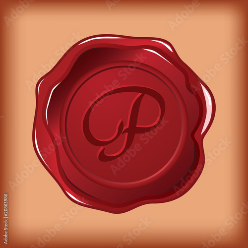 wax sealed monogram P vector