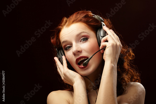 Beautiful women with a headset