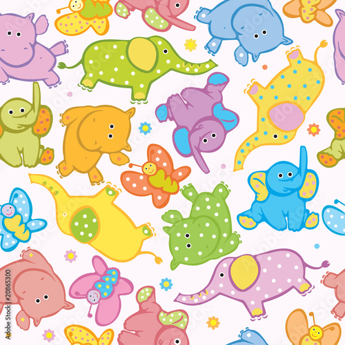 Seamless vector of cute animals