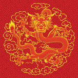Illustration of mythological animal - a red chinese dragon. poster
