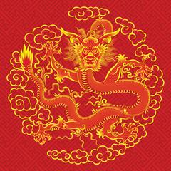 Illustration of mythological animal - a red chinese dragon.