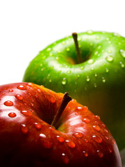 two apples with water-drops
